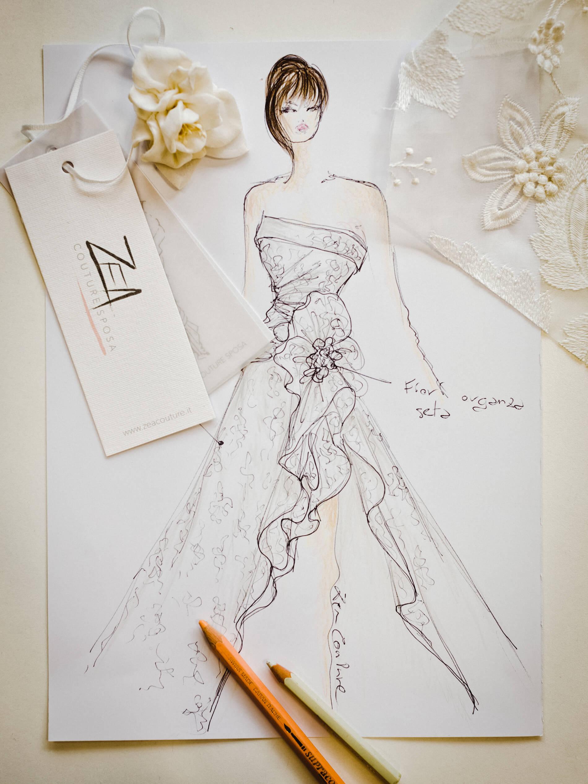 Emily - Zea Couture - Schizzo Modello Abiti da Sposa