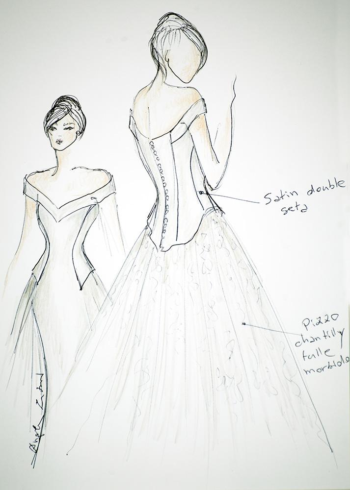 Kate - Zea Couture - Schizzo Bozzetto Abiti da Sposa