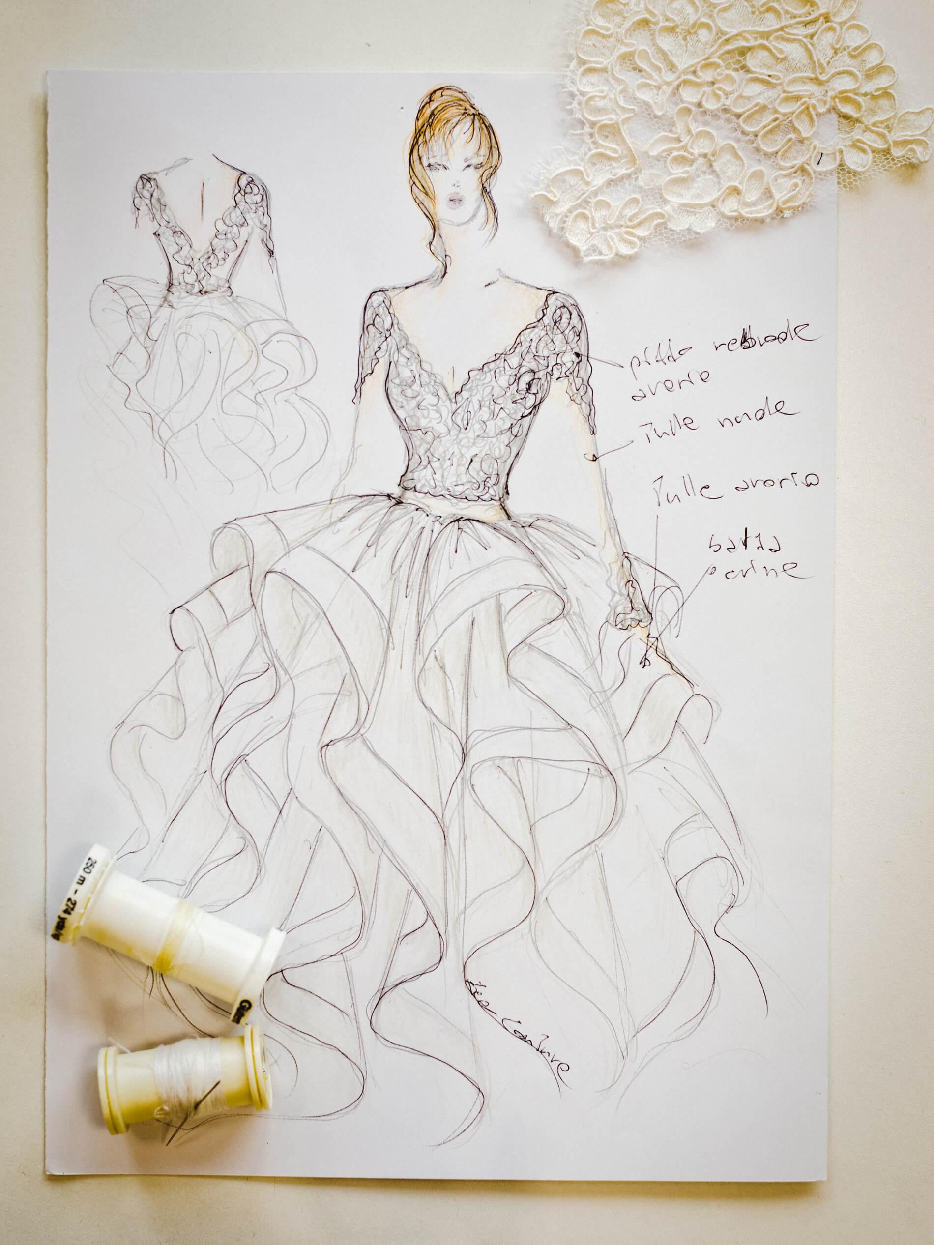 Mary - Zea Couture - Schizzo Modello Abiti da Sposa