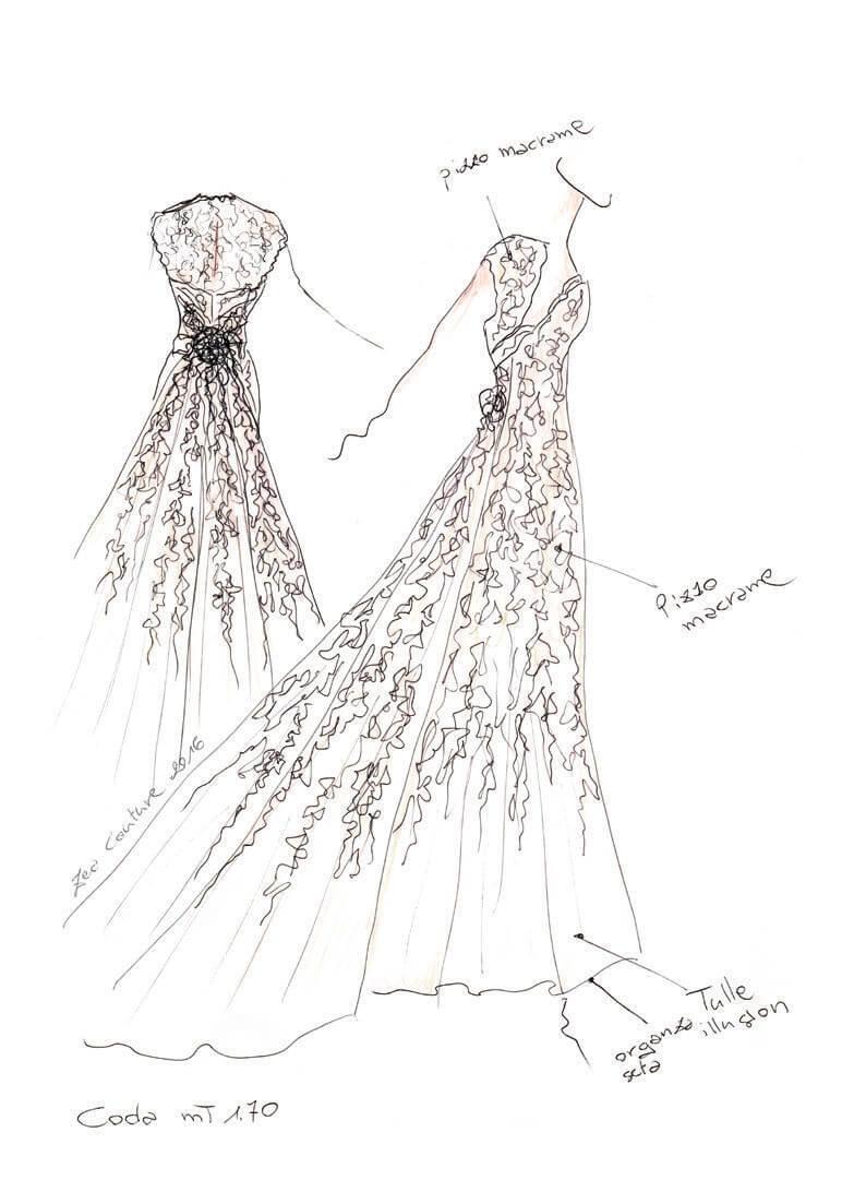 Mod.01 – Zea Couture – Schizzo Bozzetto Abiti da Sposa