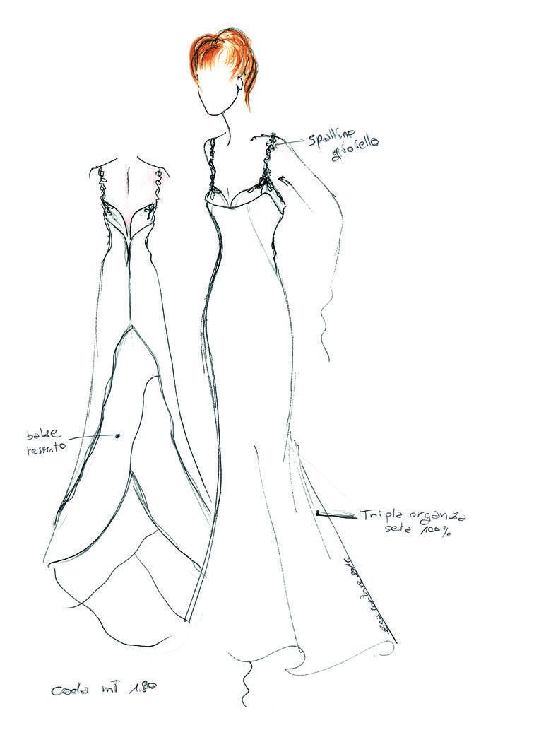 Mod.04 – Zea Couture – Abiti da Sposa – Schizzo