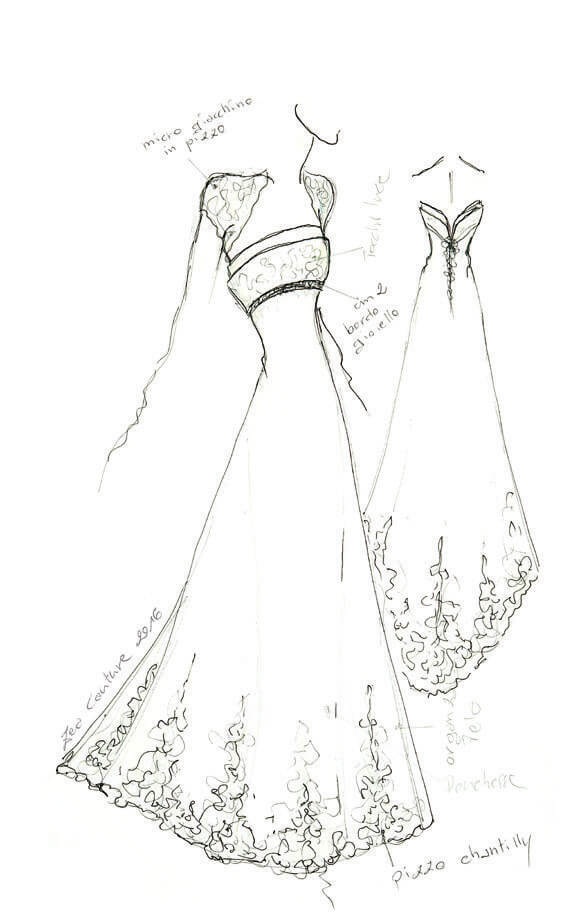 Mod.14 – Zea Couture – Schizzo Bozzetto Abiti da Sposa