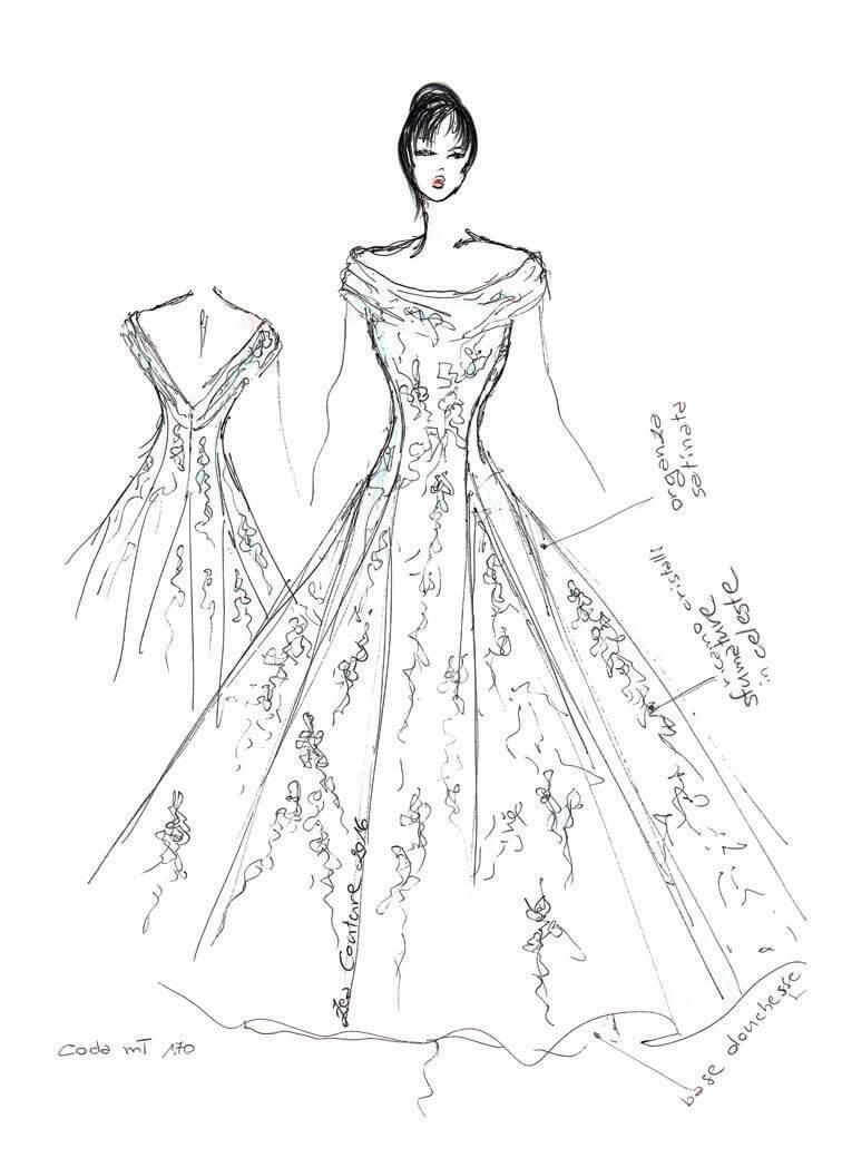 Mod.26 – Zea Couture – Schizzo Bozzetto Abiti da Sposa