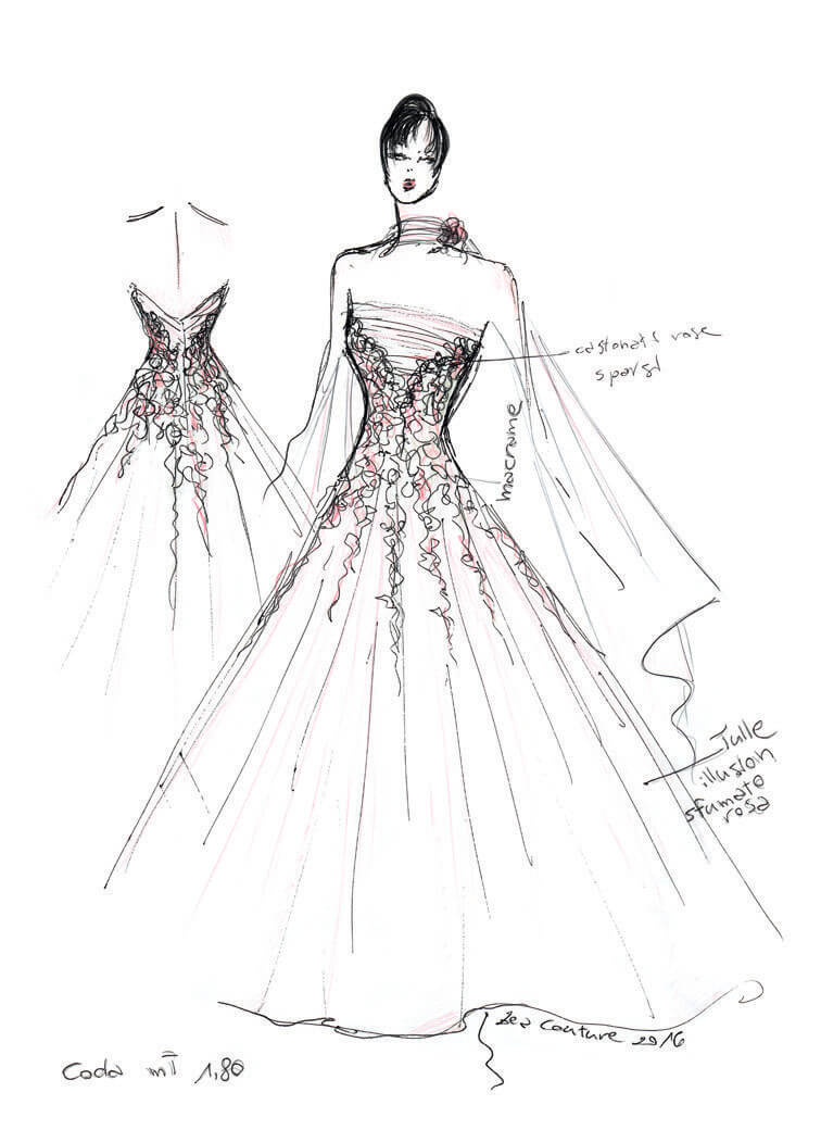 Mod.28 – Zea Couture – Schizzo Bozzetto Abiti da Sposa