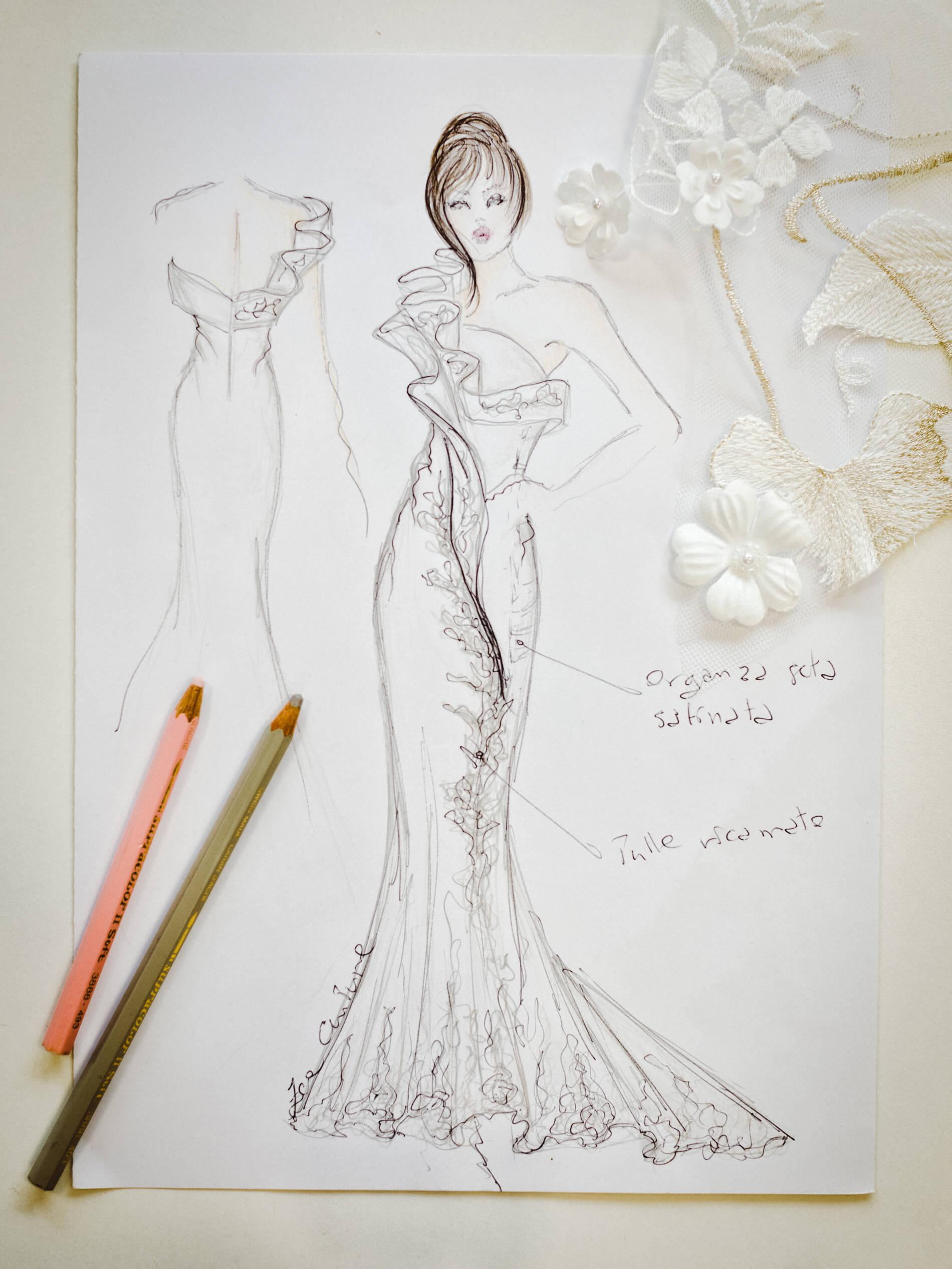 Oriana - Zea Couture - Schizzo Modello Abiti da Sposa