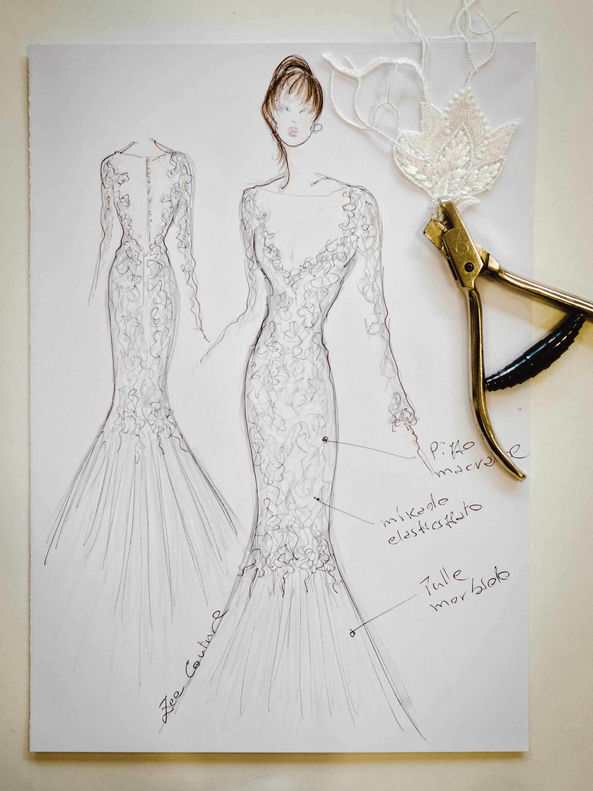 Sigrid - Zea Couture - Abiti da Sposa Schizzo Bozzetto